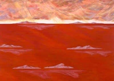Arcipelago Canto XIX, anteprima dell'opera. Il dipinto di Carlo Battaglia mostra un arcipelago di isolotti, immersi in un mare rosso intenso.