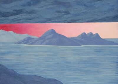 18 dicembre 1989: il dipinto di Carlo Battaglia mostra un paesaggio marino osservato da una scogliera.