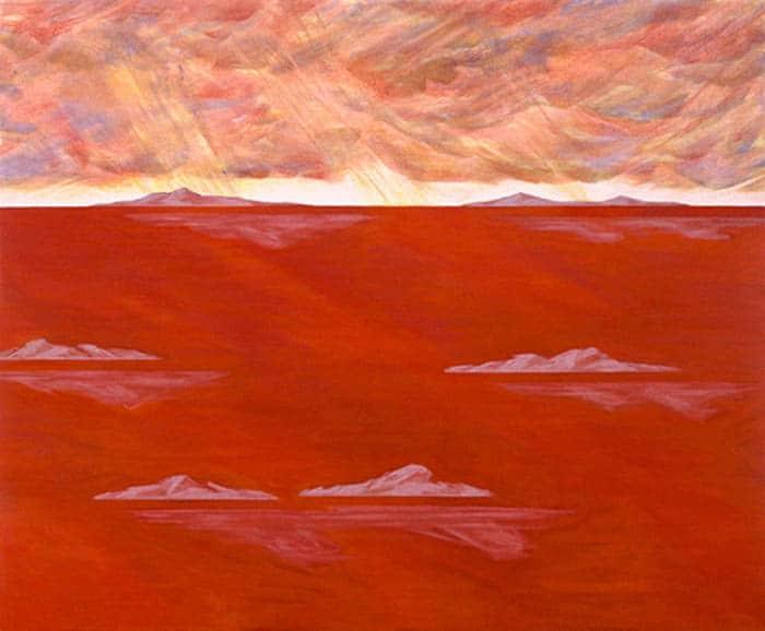 Arcipelago Canto XIX: il dipinto di Carlo Battaglia mostra un arcipelago di isolotti, immersi in un mare rosso intenso.