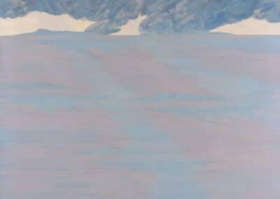 Arcipelago Canto XV: il dipinto di Carlo Battaglia rappresenta un paesaggio marino nuvoloso e grigio, con due isole sull'orizzonte.