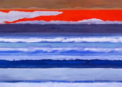 Orizzonti n.1: il dipinto di Carlo Battaglia rappresenta un paesaggio marino di onde frontali; sullo sfondo un orizzonte di colore rosso intenso parzialmente coperto da nuvole.